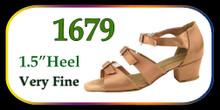 "Brown Satin 3 Buckle Ballroom Shoes w/ 1.5"" Heel"