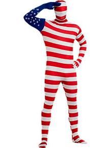 Patriotic US Flag 2nd Skin Full Body Jumpsuit & Mask