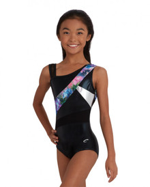 Asymmetrical Gymnastic Flowers & Mesh Leotard w/ Matching Hair Accessory