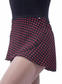 Black w/ Hot Pink Polka Dots Wrap Skirt