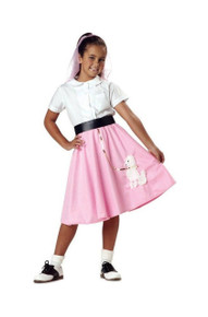 Poodle Skirt Pink with white poodle applique