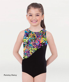 Girl's Metallic Print Tank Gymnastics Leotard