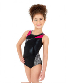 Child's Metallic Silver Vault V Back Gymnastics Leotard