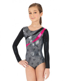 Girl's Metallic Black & Silver Rhythmic Ribbons Long Sleeve Gymnastics Leotard