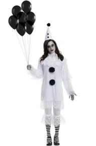 Heartbroken Clown Creepy Black & White Adult Lace Costume Set