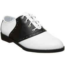 "Adult Black & White Saddle Oxford w/ 1"" Heel"