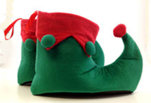Felt Elf Shoes Trimmed with Pom-poms and Vinyl Bottoms