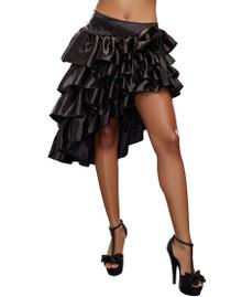Black Satin Ruffled Asymmetrical Skirt
