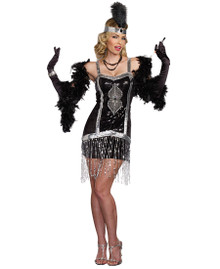 20's Simply Fab! Black & Silver Flapper Dress w/ Headpiece