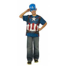 Avengers Kids Captain America Shirt & Mask Licensed Age of Ultron