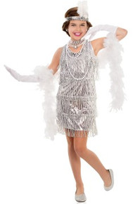 20's Dazzling Flapper Girl's Dress w/ Feather Headpiece