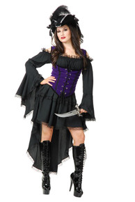 Black Pearl Pirate Lady Purple Dress Set