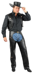 Western Chaps & Vest Men's Black Pleather Plus Size