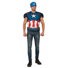 Avengers Age of Ultron Licensed Captain America Muscle Chest Shirt & Mask Adult