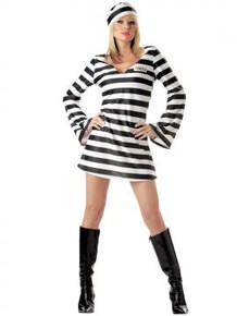 Convict Chick Women's Black & White Striped Dress