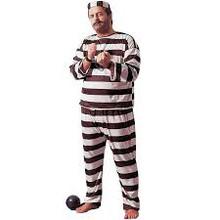 """Convict Black & White Jailbird Full-Figured up to 48"""" Chest"""