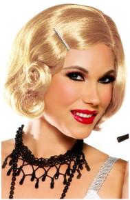 20's Pin Up Girl Cutie Flapper Wig w/ Rhinestone Hair Pin