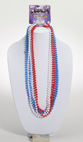 Beads 4th of July Red White Blue Mardi Gras Beads 6pk