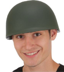 Army Helmet Military Hat Hard Textured Green Plastic