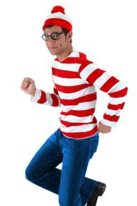 Adult Where's Waldo Costume Shirt, Hat & Glasses