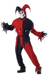 Jester Black & Red Evil Men's Plus Size Costume w/ Mask