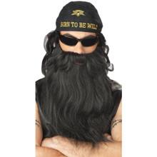 Biker Bushy Black Beard & Moustache