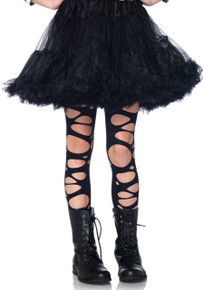 Girl's Black Tattered Tights (4912)