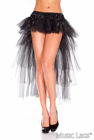 Long Back Multi Layered Tulle Petticoat with Satin Bows (746BLK)