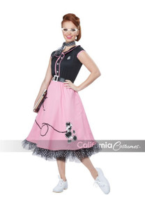 50's Sweetheart Ladies Poodle Skirt Dress & Pettiskirt