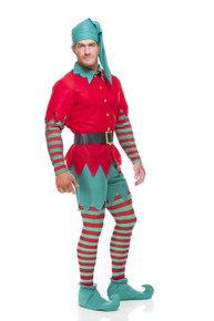 Christmas Elf Red & Green Mens Complete Costume