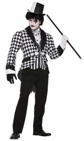Harlequin Tail Coat Black and White Checkered
