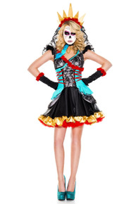 Day of the Dead Darling Dress w/ Veil Choker & Gloves (70755)