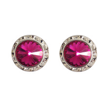 17MM Fuchsia Swarovski Crystal Earrings w/ Surgical Steel Post
