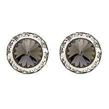 17MM Black Diamond Swarovski Crystal Earrings w/ Surgical Steel Post