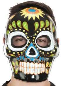 Day of the Dead Full Face Black Colorful Mask
