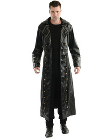 Pirate Gothic Trench Coat Adult Costume Black