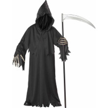 Grim Reaper Kids Costume Deluxe Black Robe with Hood