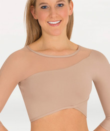 3/4 Sleeve Asymmetrical Faux Wrap Front Pullover