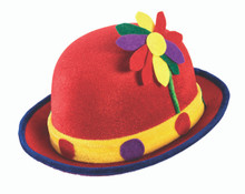 Clown Derby Red with Blue Trim and Polka Dots