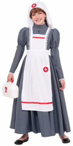 Civil War Nurse Kids Dress, Apron, Headpiece