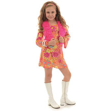 60's Girls Flower Power - Mini Dress, Vest, Headband