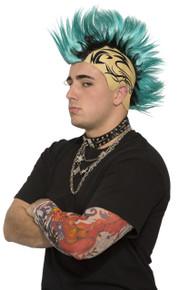 Mohawk Tattoo Wig Teal