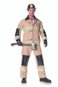 Firefighter One Size with Jacket, Pants with Attatched Suspenders, Helmet