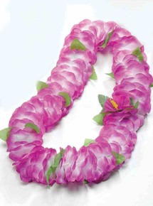 Hawaiian Luau Lei Puple Tips White with Green Leaf