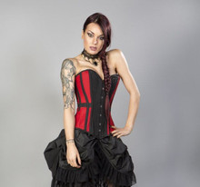 Burlesque Morgana Overbust Black Red Taffeta Corset