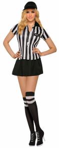 Sexy Referee Ladies Costume Top, Skirt, Cap, Knee Highs