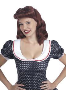 40's Lady Wig Auburn Pin-up Girl