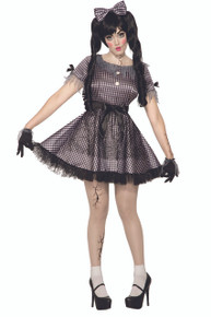 Broken Doll Costume Adults Black, White, Grey
