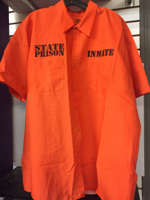 County Jail Inmate Plus Size Orange Prisoner Short Sleeve Work Shirt
