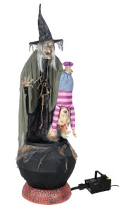 Stew Brewing Witch with Kid and Fog Machine Prop Life-sized Animated Decor